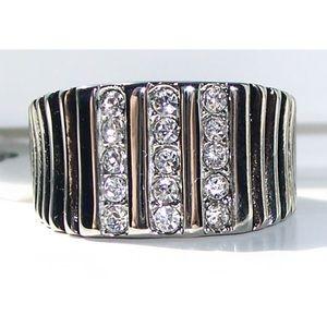 STAINLESS STEEL Men's Pave Set Chrystal Ring